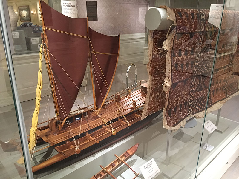The Hawaii exhibit includes a sailboat model, circa 2000, made of native materials such as balsa wood, coconut fiber and canvas. It's on loan to Disney World from the Museum of Indian Arts and Culture in Santa Fe, New Mexico. (Photo by Hurricane Hayward)
