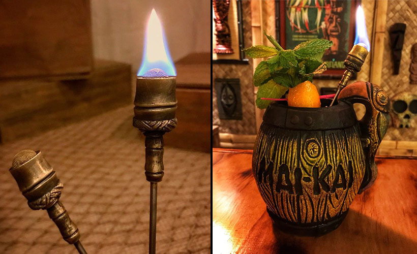 Grider's Torch Swizzle and the 2018 Mai-Kai Barrel Mug by Tiki Diablo. (Photo from GriderCo.Etsy.com)
