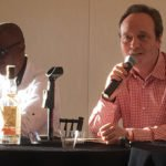 Winston Harrison (National Rums of Jamaica Group and Long Pond Distillers) listens while Alexandre Gabriel (Maison Ferrand and Plantation Rum) speaks about the history of rum production in the Caribbean