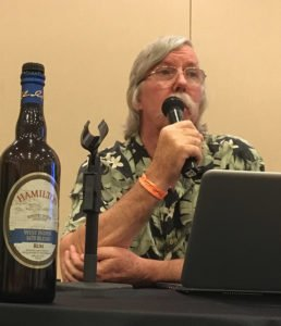 Ed Hamilton talks about his rums during a seminar at Miami Rum Congress in February 2019. (Photo by Hurricane Hayward)