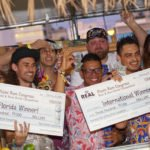 The bartender battle winners are announced: Georgi Radev of Laki Kane in London (second from right) takes home the international title while Michael DeMahy of Death or Glory in Delray Beach emerges victorious in the Florida competition