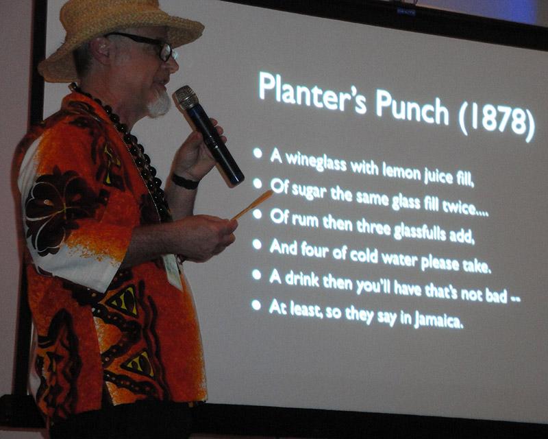"Jeff ""Beachbum"" Berry presents his symposium on Planter's Punch at The Hukilau 2015. (Atomic Grog photo)"