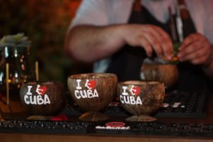 Jorgie Ramos, chef/owner of Abi Maria Bar & Refuge in Miami, prepares his complex Manisero cocktail.