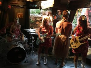 Artist and infamous set crasher Crazy Al Evans joins The Surfrajettes at The Mai-Kai during The Hukilau on June 10, 2017