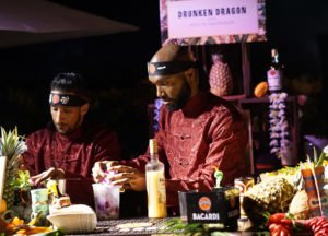 Kevin Andrade (left) and Ryan Hamilton of Drunken Dragon prepare the Enter the Dragon cocktail