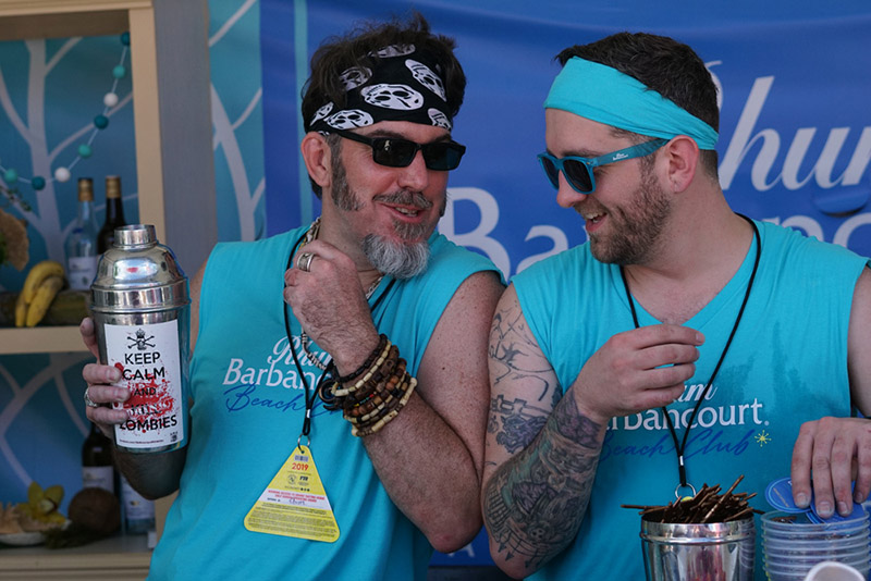 Brian Miller (left) and Cameron Winkelman of The Polynesian in New York City bring their talents to South Beach on behalf of sponsor Rhum Barbancourt.