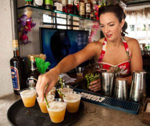 Tiki Lindy in action behind the bar. (Kickstarter photo)