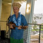 King Kukulele, The Hukilau emcee since the first event in 2002, serenades guests as they arrive in the 17th-floor Pier Top Lounge. (Photo by Jim Neumayer)