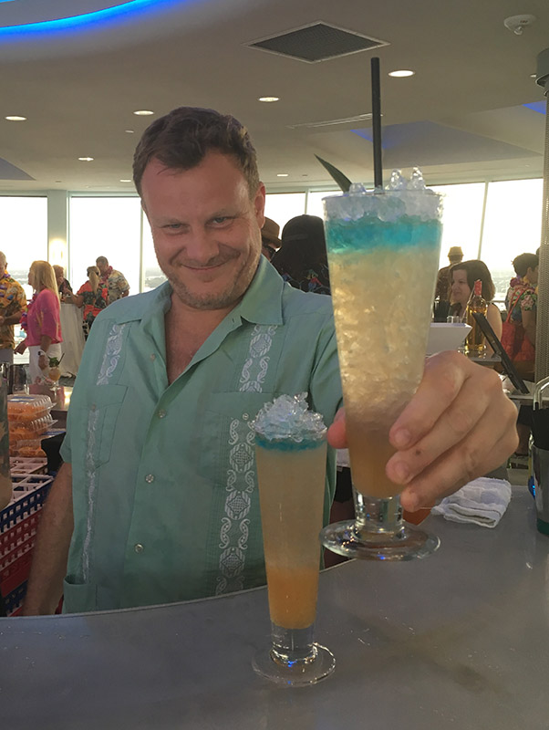 Stuart Hudson serves the Cotton Mouth Killer, one of the signature cocktails at Trailer Happiness. He and the award-winning London bar traveled across the pond to make their first appearance at The Hukilau. (Atomic Grog photo)