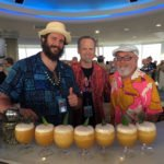 Doc Parks of Pagan Idol in San Francisco (left) lends his expertise to Brother Cleve (right) as Hurricane Hayward stops by to inspect the cocktails. (Atomic Grog photo)