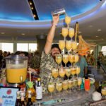 Daniele Dalla Pola of Italy's Nu Lounge Bar shows off his skills in presenting his Kama'aina cocktail in spectacular fashion. (Photo by Jim Neumayer)