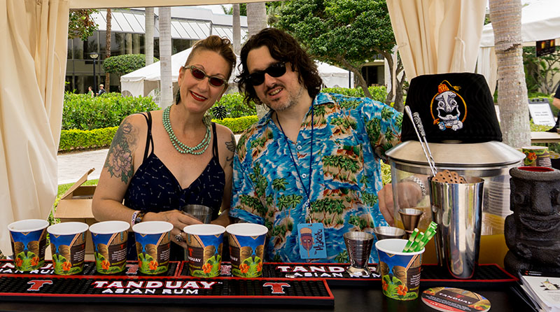 Marie King and Ian Yarborough represent Tonga Hut at The Hukilau 2018, the bar's first year as a participating pop-up. This year, King will also be part of the exclusive Tiki Tower Takeover. (Photo by Jim Neumayer)