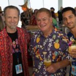 The Mai-Kai owner Dave Levy (center) rubs elbows with The Atomic Grog's Hurricane Hayward (left) and Lemon Hart Rum's Miles Maximillian Vrahimis. (Atomic Grog photo)