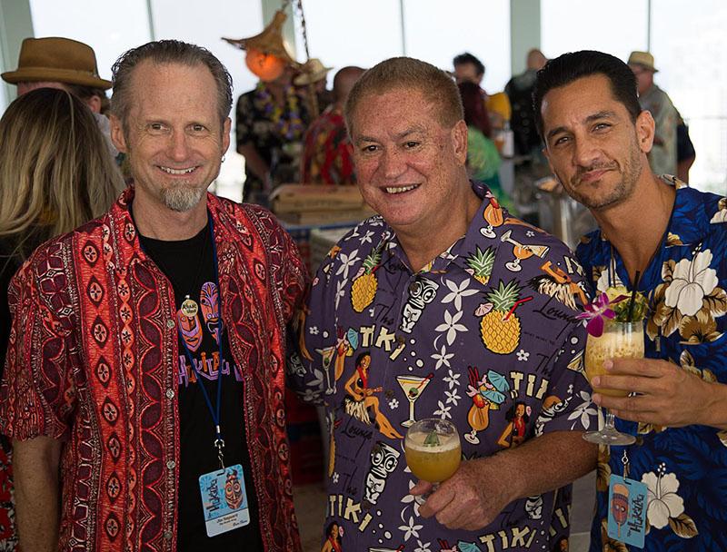 The Mai-Kai owner Dave Levy (center) rubs elbows with The Atomic Grog's Hurricane Hayward (left) and Lemon Hart Rum's Miles Maximillian Vrahimis. (Atomic Grog photo)