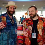 Pagan Idol's Doc Parks and William Prestwood enjoy the Zombie from Three Dots and a Dash. (Photo by Hukilau Mike)