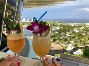 It's hard to beat the view, or the cocktails, in the 17th-floor Pier Top Lounge during the Tiki Tower Takeover at The Hukilau. (Photo by Joanne Galka)