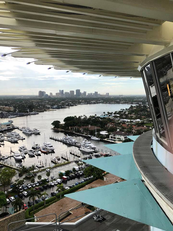 A view of downtown Fort Lauderdale from the Pier Top Lounge at the Pier Sixty-Six Hotel & Marina during the Tiki Tower Takeover at The Hukilau 2018. (Photo by Scott Broadway)