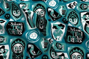 Arizona Tiki Oasis fabric by artist Mookie Sato.