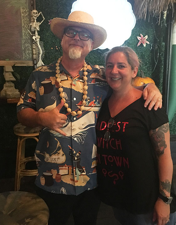 "Death or Glory co-owner and mixologist Ayme Harrison welcomes author and cocktail historian Jeff ""Beachbum"" Berry to her award-winning restaurant's Tiki bar in October 2018. The longtime participant at The Hukilau will make her first appearance at the Tiki Tower Takeover in 2019. (Photo by Hurricane Hayward)"