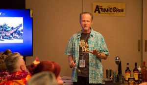 "Hurricane Hayward demonstrates a cocktail during the sold-out ""How to Mix Like The Mai-Kai"" class at The Hukilau 2018. (Atomic Grog photo)"