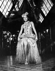 Mireille Thornton on stage at The Mai-Kai in the early 1960s as one of the original dancers in the Polynesian Islander Revue. After three decades as owner, she continues to help design and choreograph the show. (From Mai-Kai: History and Mystery of the Iconic Tiki Restaurant)
