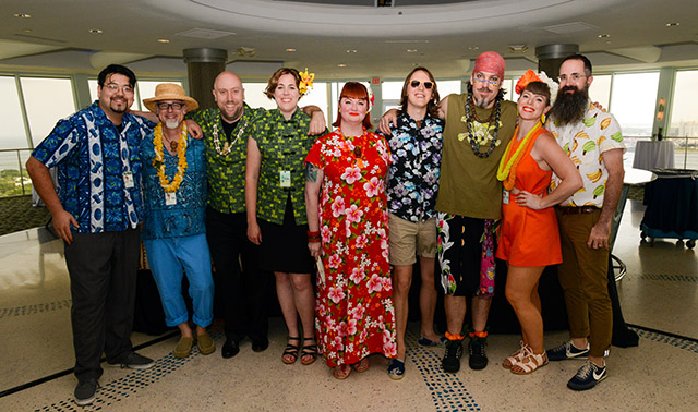 "Christie ""Tiki Kiliki"" White (center) with the participants before the first Tiki Tower Takeover (from left): Steve Yamada and Jeff ""Beachbum"" Berry (Latitude 29), Martin and Rebecca Cate (Smuggler's Cove), Garret Richard and Brian Miller (Tiki Mondays With Miller), Shelby Allison and Paul McGee (Lost Lake). (Photo by Go11Events.com)"