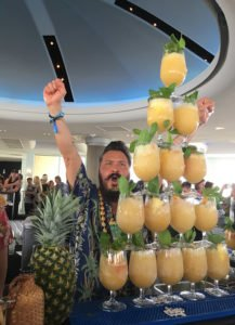 Daniele Dalla Pola of Nu Lounge Bar in Bologna, Italy, has a flamboyant way of serving his Nu Nui Nui cocktails at the Tiki Tower Takeover in June 2018. (Photo by Hurricane Hayward)
