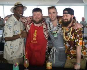 Rum ambassador Ian Burrel (from left) with Tiki Tower Takeover bartenders Scotty Schuder (Dirty Dick), Kevin Beary and Cory Starr (Three Dots and a Dash). (Atomic Grog photo)