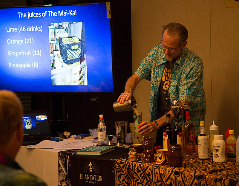 After discussing the key juices used at The Mai-Kai, Hurricane Hayward mixes up the first sample cocktail