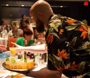 Special guest Oriol Elias, Tiki expert and rum/cocktail guru from Spain, lends a hand in distributing drinks