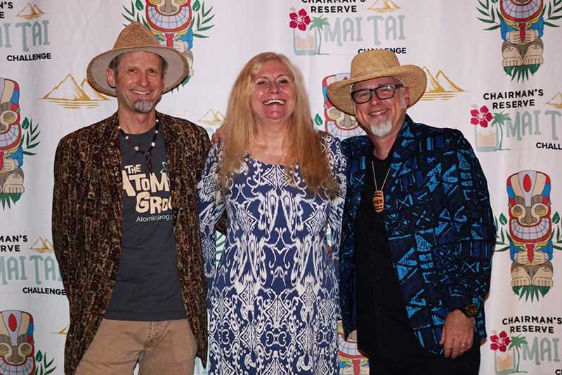 "Hurricane Hayward with The Mai-Kai's Pia Dahlquist and author Jeff ""Beachbum"" Berry at the Chairman's Reserve Mai Tai Challenge at The Mai-Kai on Oct. 30, 2018. (Atomic Grog Photo)"