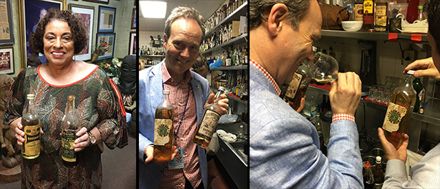 The Mai-Kai's original mixologist, Mariano Licudine (right), with his rum collection in 1962. Many of those rare and original bottles can still be found in the secluded back service bar (photo from 2017 at right), unseen by guests