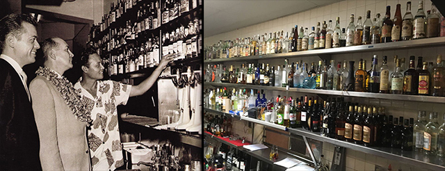 Manager Bob Van Dorpe (left) and head bartender Mariano Licudine (right) show off The Mai-Kai's rum collection in 1962. Many of those rare and original bottles can still be found in the secluded back service bar (photo from 2017 at right), unseen by guests.