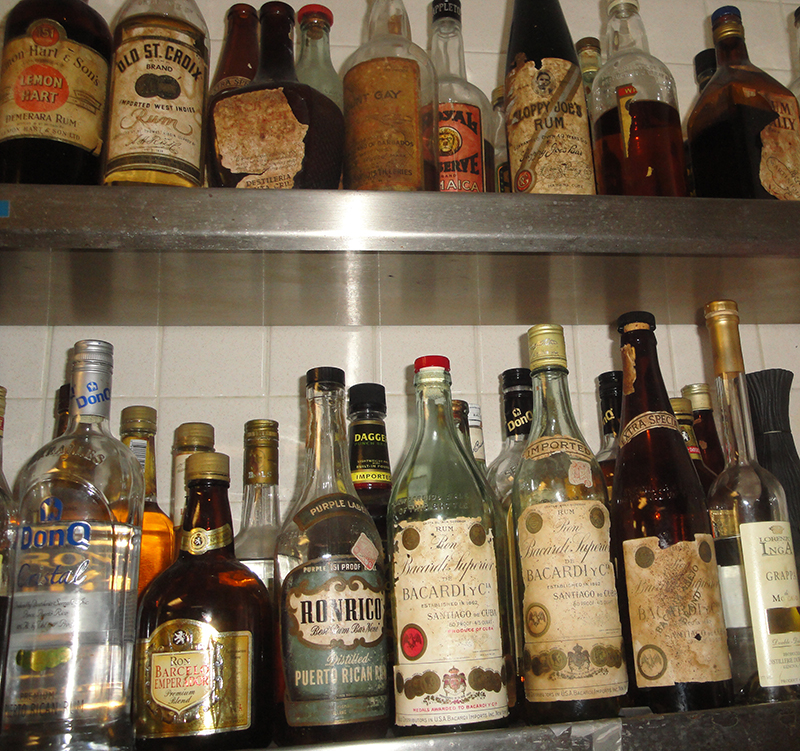 Vintage rums on the upper shelves in The Mai-Kai's back service bar, January 2016. (Photo by Hurricane Hayward)