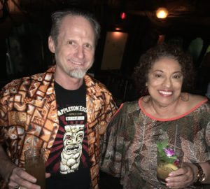 Hurricane Hayward meets Joy Spence, the legendary master blender at Jamaica's Appleton Estate, during her first visit to The Mai-Kai in November 2018. (Atomic Grog photo)
