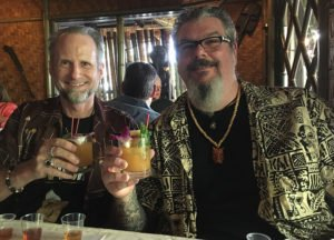"Hurricane Hayward and fellow rum tasters, including South Florida tattoo artist Mike ""Pooch"" Pucciarelli, enjoy The Mai-Kai's Mai Tai (featuring Appleton Estate Rare Blend) during a special event at The Mai-Kai on Aug. 14, 2019"