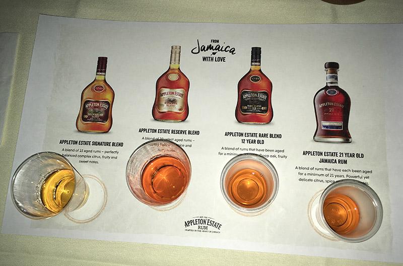 Appleton Estate Rum samples await tasting during master blender Joy Spence's special event at The Mai-Kai in Fort Lauderdale on Aug. 14, 2019