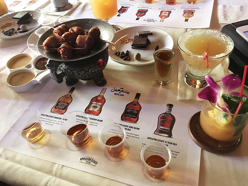 When it was time to begin tasting, we were well-stocked with appetizers and cocktails featuring Appleton Estate Rum during a special event hosted by master blender Joy Spence at The Mai-Kai on Aug. 14, 2019