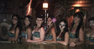 The Molokai Maidens welcome Hulaween 2018 guests.