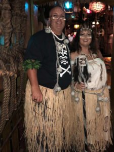 A cannibal couple is in good spirits at Hulaween 2018.