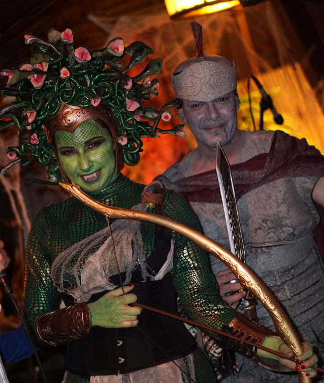 Medusa and the Stone Soldier wowed the judges in the costume contest, taking first prize at Hulaween 2018.
