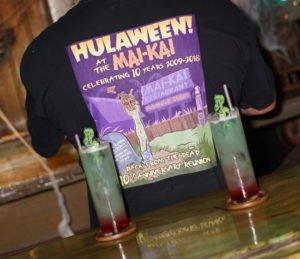 A special cocktail, The Mad Doctor's Green Blood Potion, was presented at Hulaween 2018 at The Mai-Kai