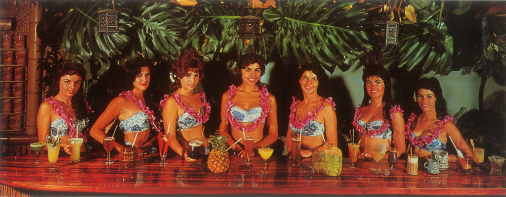 The Piña Passion is front-and-center in this early postcard photo taken in the Surfboard Bar. (MaiKaiHistory.com)