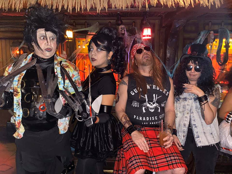 Edward and Mrs. Scissorhands party the night away with the contest runners-up, Axl and Slash.