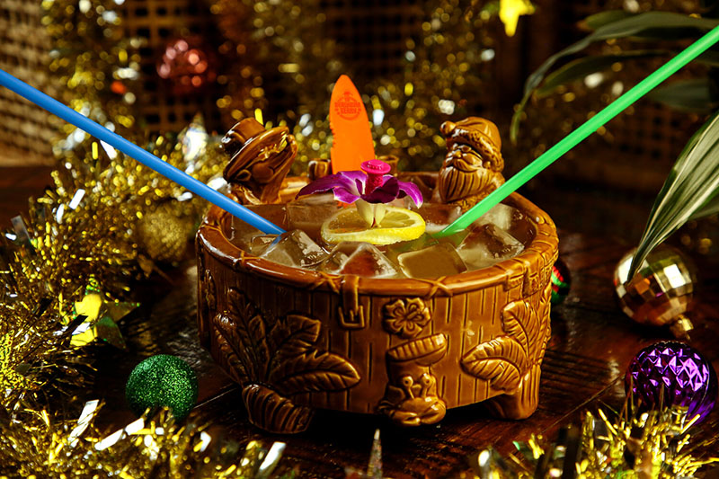 The Jingle Bowl, which serves up to four people, comes in a new communal Tiki Tub bowl, available for purchase at Sippin' Santa locations. (SippinSantaPopUp.com)