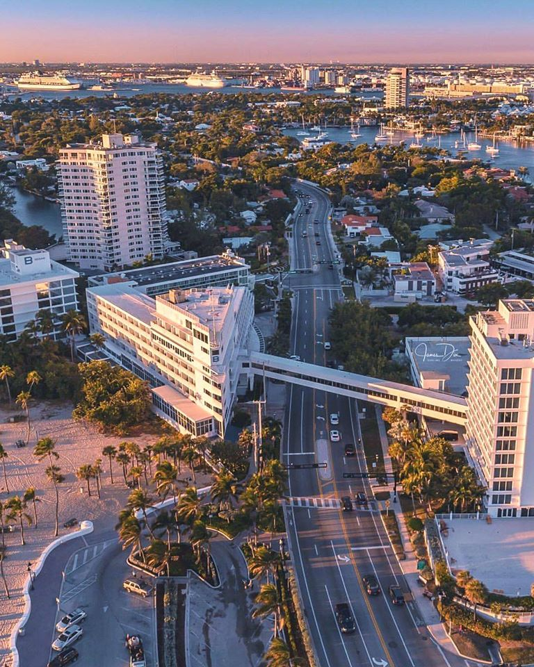 An aerial view of the B Ocean Resort, one of the few hotels located directly on the beach in Fort Lauderdale. (Sublime Imagery)