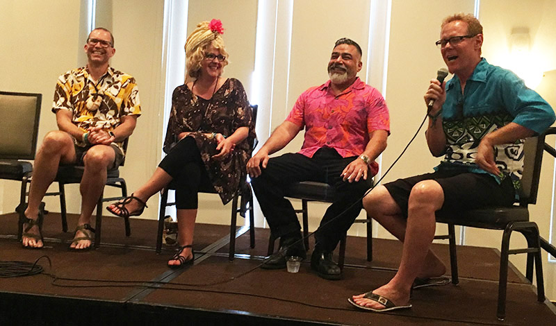 A symposium on Tiki mugs at The Hukilau 2019 featured artists (from left) Henrik Van Ryzin (VanTiki), Baï, Danny Gallardo (Tiki Diablo), and John Mulder (Eekum Bookum). (Atomic Grog photo)