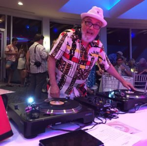 Brother Cleve DJs in the Pier Top Lounge during The Hukilau 2019 at the Pier Sixty-Six Hotel & Marina in Fort Lauderdale. (Atomic Grog photo)