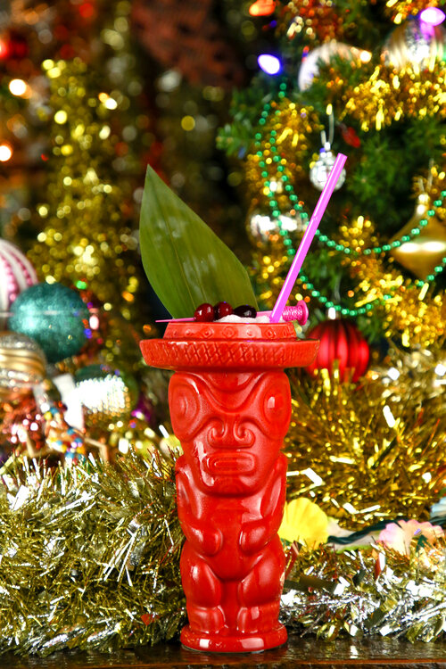 The Shaka Kalikimaka cocktail and Beachbum Berry Bora Bora Bum mug, which is available for purchase at Sippin' Santa locations. (SippinSantaPopUp.com)
