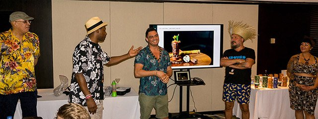 In the Tiki Mayhem class, students were entertained and educated by Georgi Radev (center), flanked by Ian Burrell (left) and Daniele Dalla Pola at The Hukilau 2019